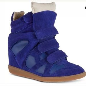 Isabel Marant BURT Blue Leather Over & Stainer NEW